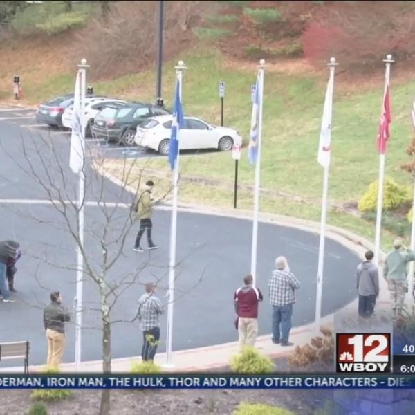 Fairmont State University's Student Veterans Organization holds a flag raising ceremony
