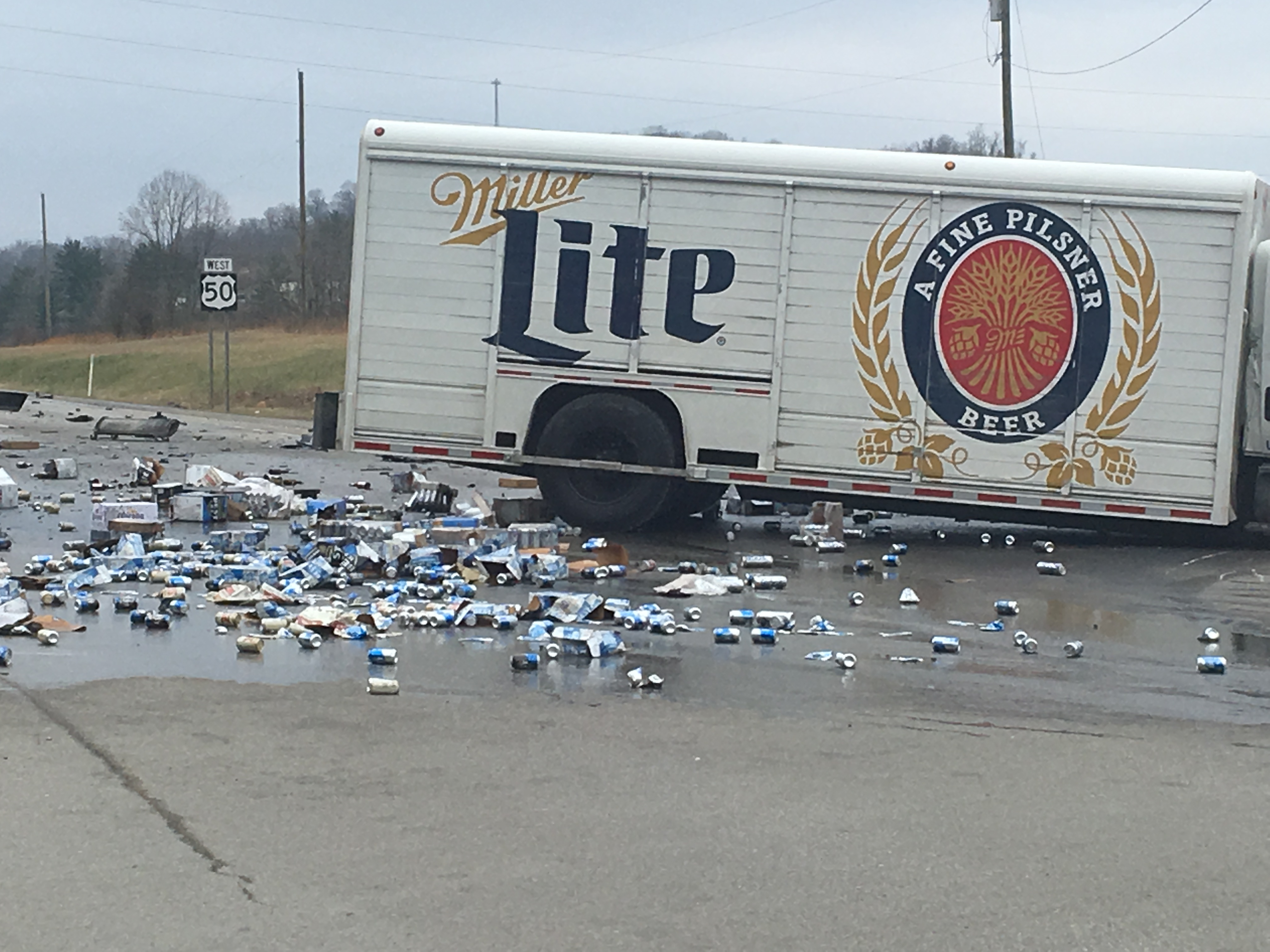 UPDATE: 2 people transported following accident with beer truck and
