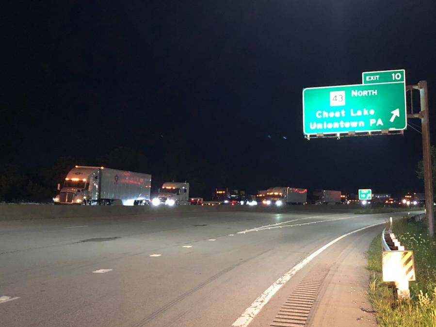 Single tractor-trailer accident shuts down I-68 westbound in