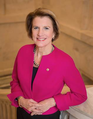 Headshot photo of U.S. Senator Shelley Moore Capito standing with arm relaxed on counter.