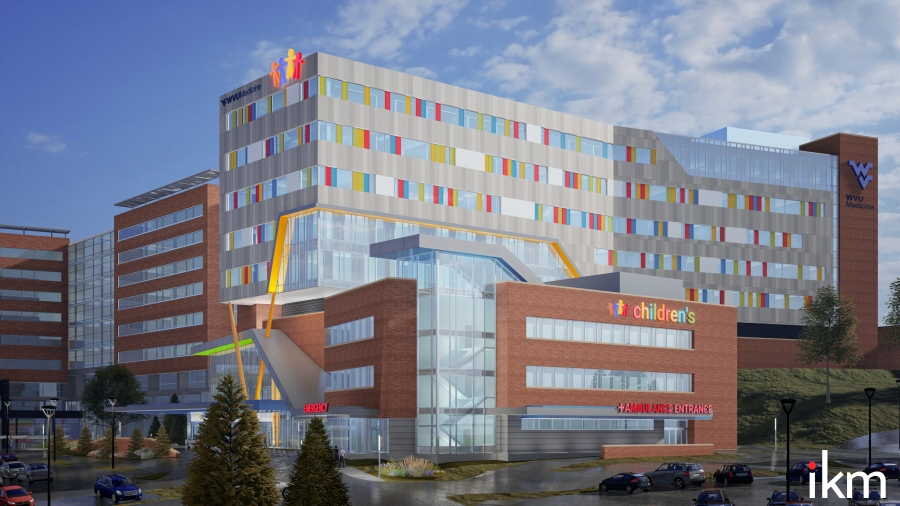 A draft image showing the design of the WVU Children's Hospital