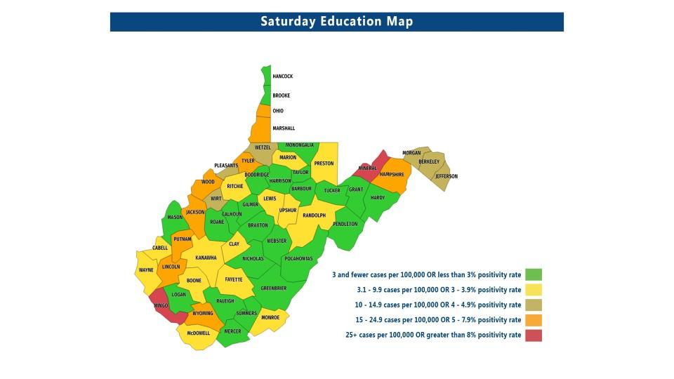Two Counties In Red Nine In Orange On Wvde School Alert Map Wboy Com