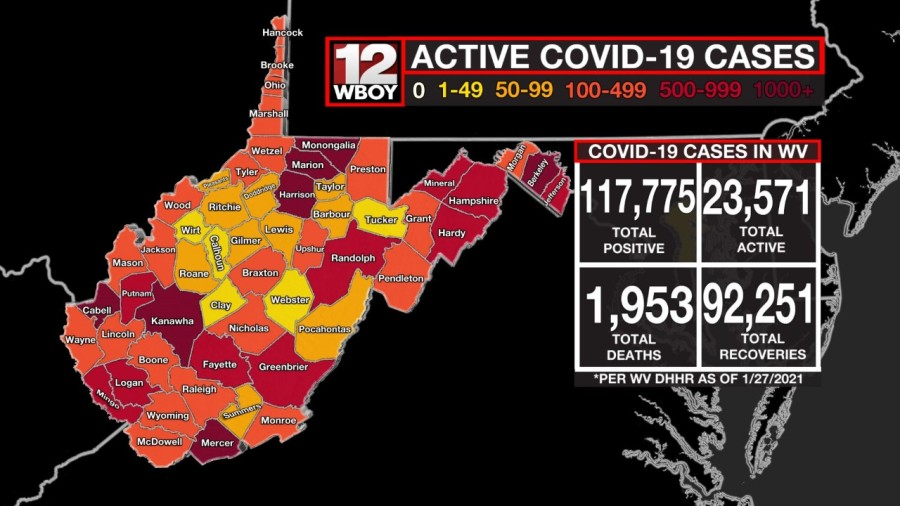 Map of West Virginia showing varients of red, orange, and yellow to represent the numbers of active COVID-19 cases