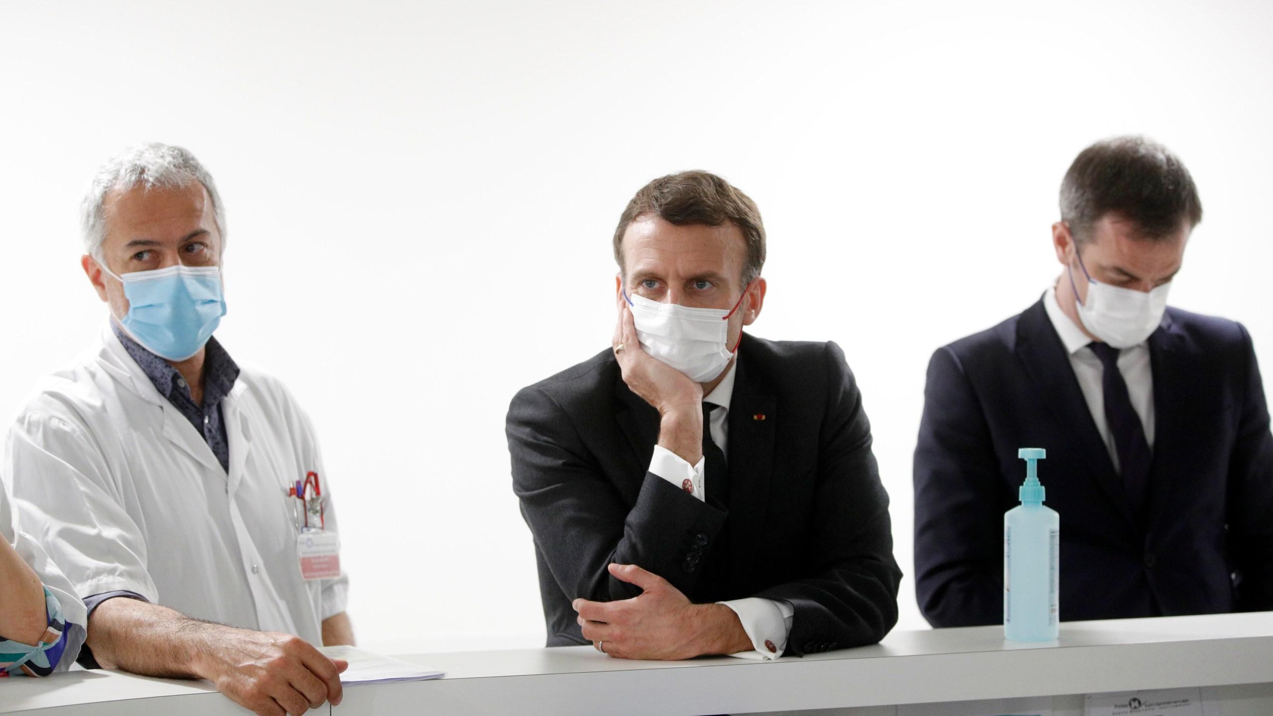 French President Macron visits Poissy/Saint Germain en Laye hospital